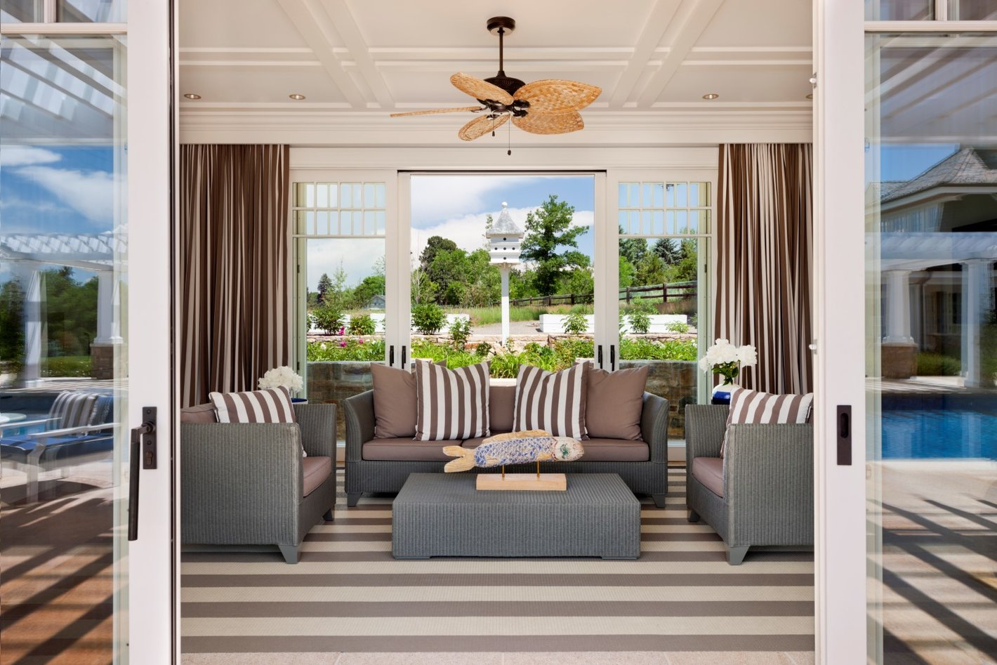 Colorado Luxe Poolhouse Living Area - Luxury Residential by Philpotts Interiors